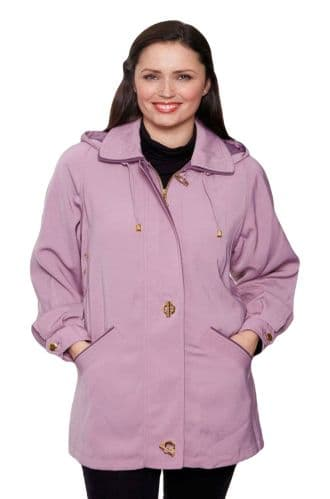 Ladies Long Hooded Lilac Rain Jacket db897
