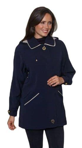 Ladies Long Hooded Navy Rain Jacket db897