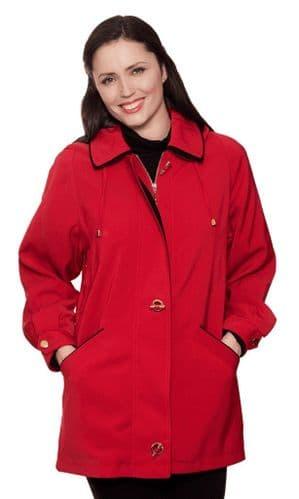 Ladies Long Hooded Red Rain Jacket db897