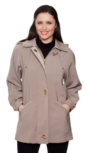 Ladies Long Hooded Taupe Rain Jacket db897