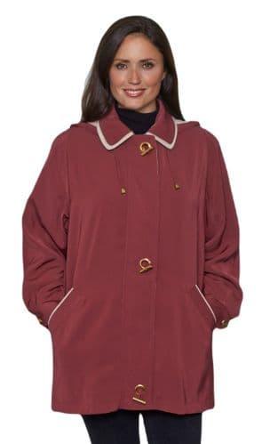 Ladies Long Hooded Wine Rain Jacket db897