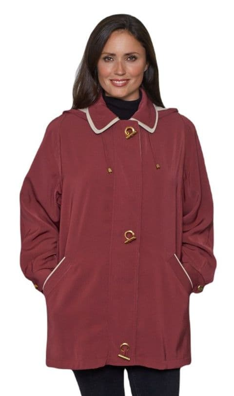 Ladies Long Hooded Wine Rain Jacket db897