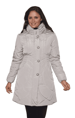 Luxury Ruched Collar Padded Stone Coat db1263