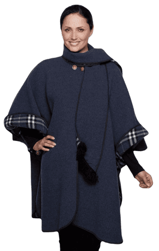 Womens Airforce Blue Reversible Check Wool Cape K1330