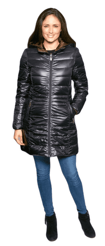 Womens Black-Brown Reversible Feather Down Padded Coat db924