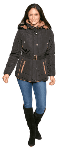 Womens Black Luxury Padded Hooded Jacket db730
