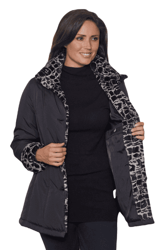 Womens Black Luxury Soft Touch Padded Animal Print Jacket db4002