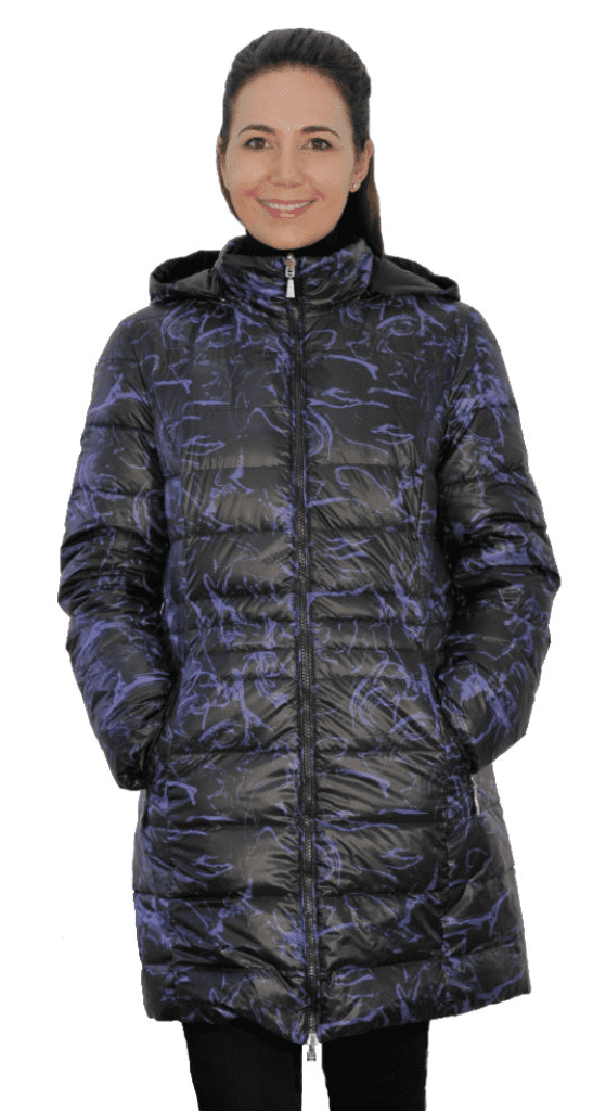 Womens Black-Print Reversible Feather Down Padded Coat db924