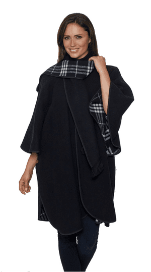Womens Black Reversible Check Wool Cape K1330