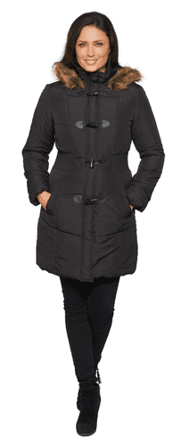 Womens Black Warm Padded Parka Coat db3759