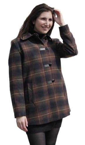 Womens Brown Check Leatherette Trim Jacket K927