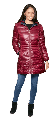 Womens Burgundy-Navy Reversible  Feather Down Padded Coat db924