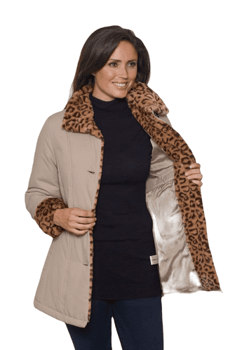 Womens Camel Luxury Soft Touch Padded Animal Print Jacket db4002