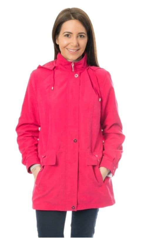 Womens Cerise Lightweight Hooded Rain Jacket db684