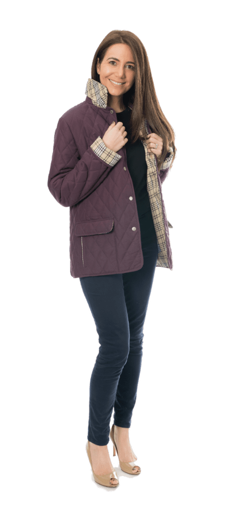 Womens Check Lined Diamond Quilted Jacket db906