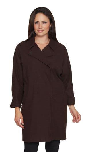 Womens Chocolate Brown  Cocoon Coat K1441