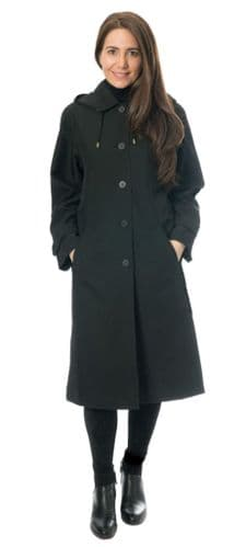 Womens Classic Hooded Rain Black Coat db1686