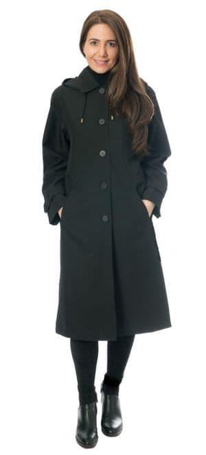 Womens Classic Hooded Rain Black Coat db1686