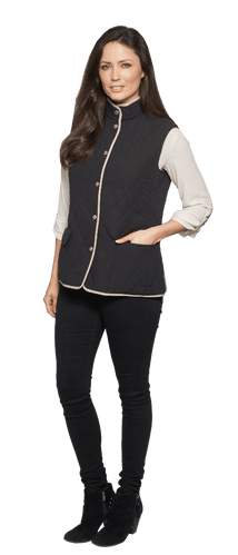 Womens Diamond Quilt Check Lined Gilet db306
