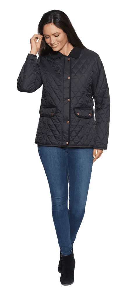Womens Diamond Quilted Cord Trim Black Jacket db654