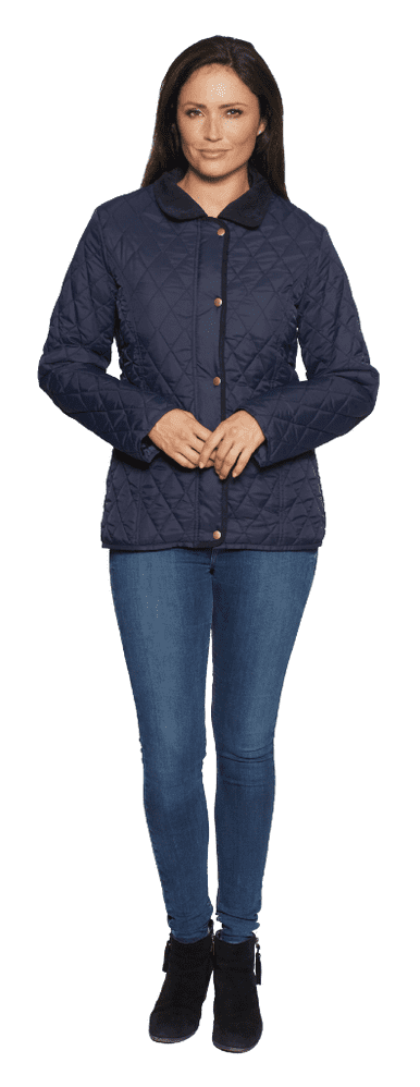 Womens Diamond Quilted Cord Trim Navy Jacket db654