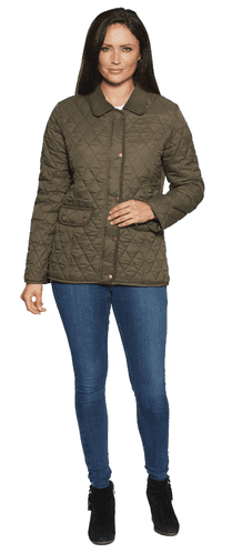 Womens Diamond Quilted Cord Trim Olive Jacket db654
