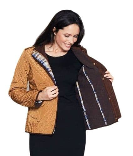 Womens Diamond Quilted Short Gold Jacket db853
