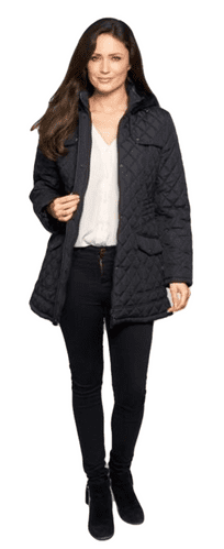 Womens Hooded Quilted Short Black Coat db118