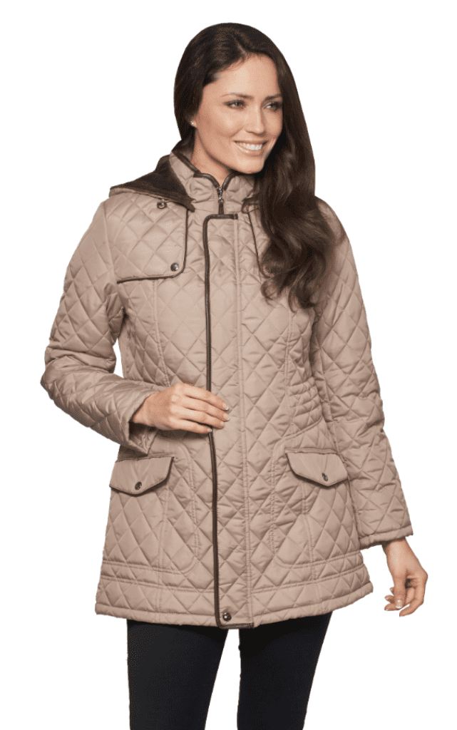 Womens Hooded Quilted Short Camel Coat db118