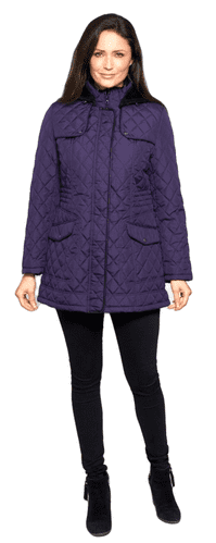 Womens Hooded Quilted Short Purple Coat db118