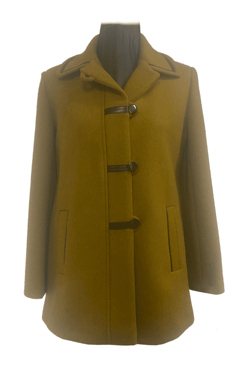 Womens Leatherette Trim Olive Jacket K927