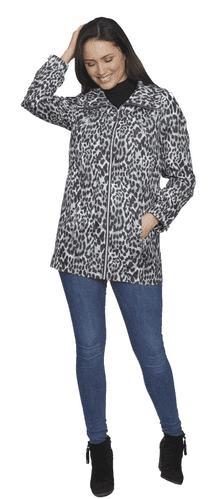 Womens Lightweight Hooded Silver Print Jacket db835