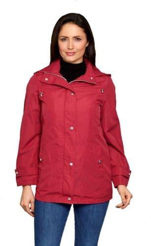Womens Lightweight Raspberry Hooded Rain Jacket db213