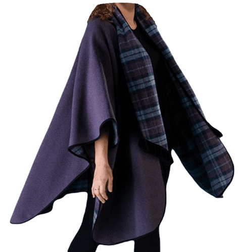 Womens Lilac Reversible Check Wool Cape K1330