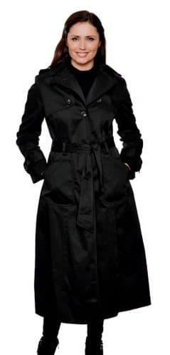 Womens Long Black Trench Rain Coat db291