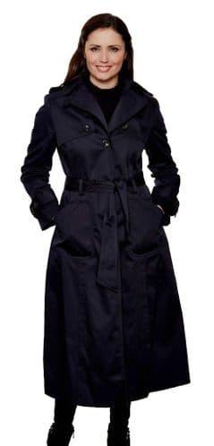 Womens Long Length Navy Trench Rain Coat db291