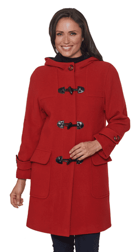 Womens Luxury Cashmere Wool Red Duffle Coat K7020