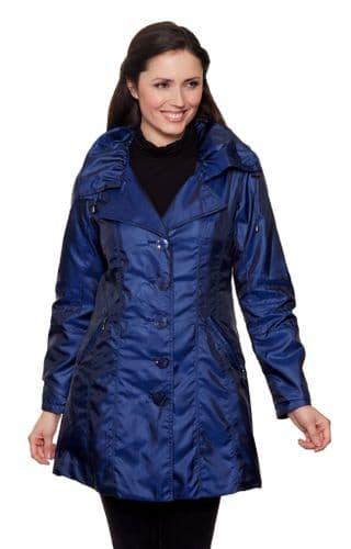 Womens Luxury Shot Silk Short Cobalt Blue Coat db294