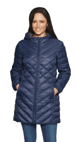 Womens Navy Feather Down Ultra Light Quilted Coat db724