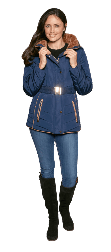 Womens Navy Luxury Padded Hooded Jacket db730
