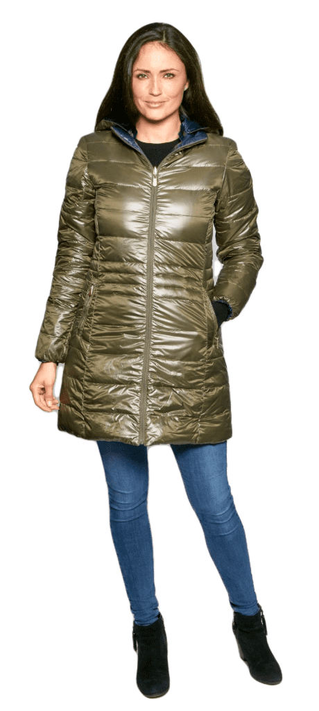 Womens Olive-Navy Reversible Feather Down Padded Coat db924