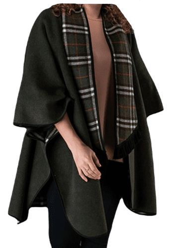 Womens Olive Reversible Check Wool Cape K1330