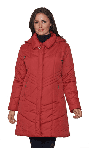 Womens Padded Hooded Red Coat db7023