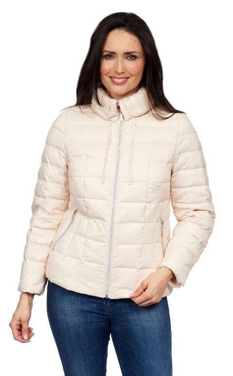 Womens Peach Feather Down Ultra Light Hooded Winter Jacket db725