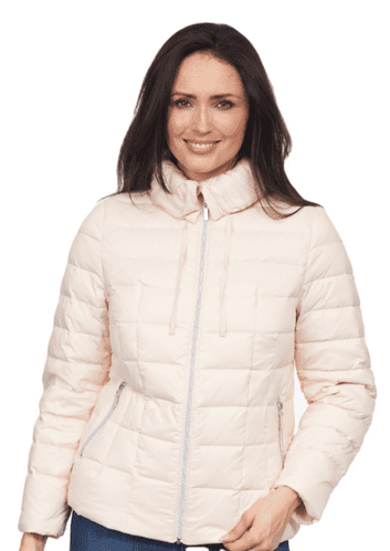 Womens Pink Feather Down Ultra Light Hooded Winter Jacket db725