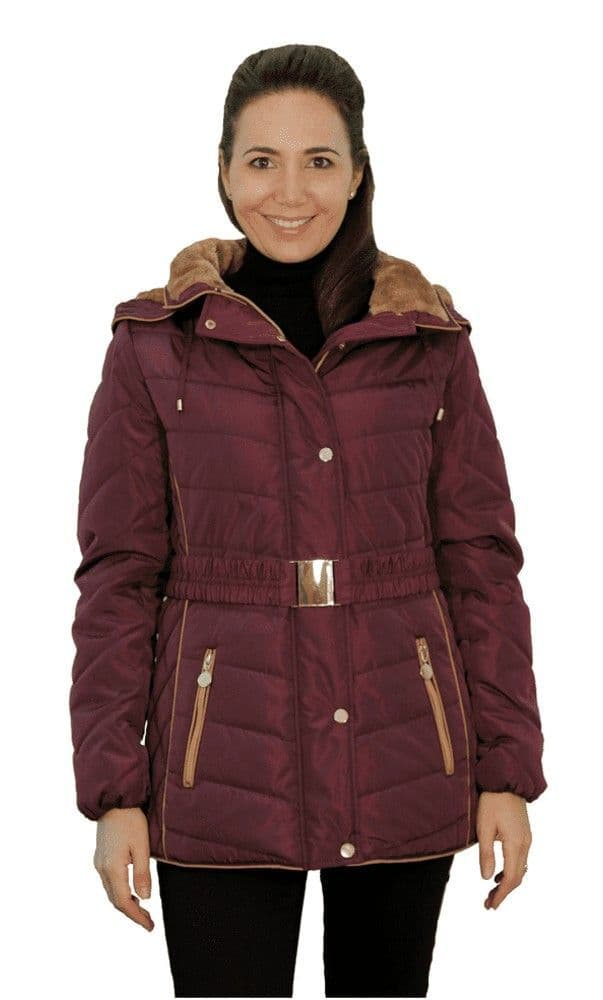 Womens Plum Luxury Padded Hooded Jacket db730