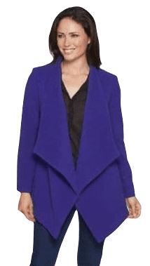 Womens Purple Waterfall Drape Wool Coat K9099