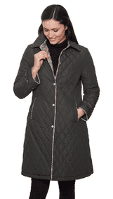 Womens Quilted Check Detail Coat db107