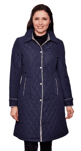 Womens Quilted Check Detail Navy Coat db107