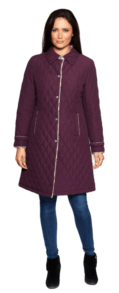 Womens Quilted Check Detail Purple Coat db107